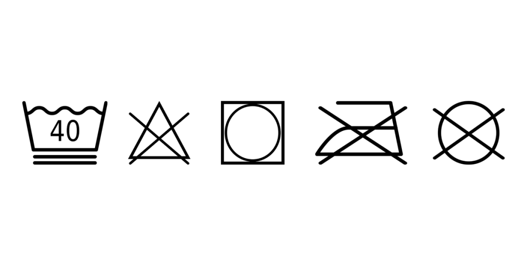 Daunenpflege-Symbole